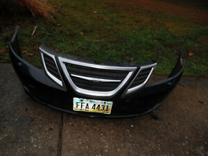08 - 11 SAAB 9 - 3 FRONT BUMPER COVER BLACK WITH FOG LIGHTS