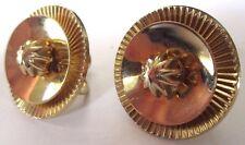 boucles d'oreilles à vis anciennes ronde relief top qualité bijou couleur or 405