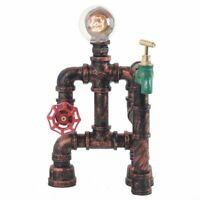 Industrial Steampunk Table Lamp Water Pipe Desk Light Reading Light With Switch