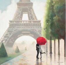 Marco Fabiano: Paris Romance II Fertig-Bild 88x88 Wandbild Paar Eiffelturm