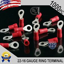 1000 PACK 22-16 Gauge #8 Stud Insulated Vinyl Ring Terminals Tin Copper Core US
