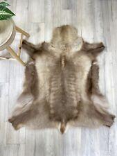 Reindeer Skin Fur Throw Rug - Golden Brown Scandinavian Deer Hide - High Quality