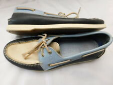 SPERRY TOP-SIDER carolina BLUE beige navy LEATHER BOAT tie SHOES mens 10 10.5 M