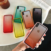 For iPhone X XR XS Max 7 8 Plus Gradient Shockproof Acrylic Clear Case TPU Cover