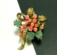 Vintage Carved JADE & CORAL FLOWER Bouquet Brooch Pin Aventurine Gold PL WW204i