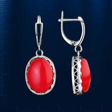 OhrHänger Silber 925° Ohrringe mit rotem Koralle Oval Cabochon Neu Glänzend