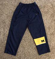 VTG Michigan Wolverines Nike Team Tear Away Snap Pants Large Blue Polyester EUC