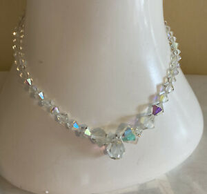 Womens Vintage1950s Aurora Borealis Crystal Glass Beads Necklace Rockabilly Old