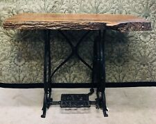 Black Walnut Live Edge Console Table With Cast Iron Howe Treadle Sewing Base
