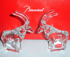 Baccarat Noah's Ark Antelope Figurines Set of 2 Clear Crystal 2105890 New Boxed