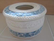 Beautiful Blue Rose Trinket Porcelain Bisque Basket Storage Picture Frame Glass