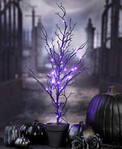 3-Ft. Spooky Lighted Purple LED Halloween Tree Haunted House Prop Black Glitter