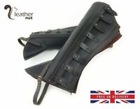 Genuine Leather Half Chaps Equestrian Gaiters Horse Riding Leggings Large Brown