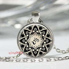 Vintage style om yoga Cabochon Tibetan silver Glass Chain Pendant Necklace gift
