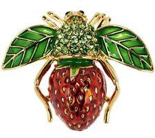 Joan Rivers Strawberry Bee Pin Multi Color Enamel Crystal Brooch! NEW W POUCH!