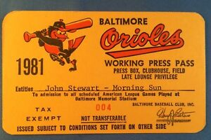 1981 Cal Ripken Debut/First Hit 3184 Life Ticket Pass At Baltimore Orioles