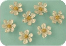 2 Hole Beads Lace Flowers ~ Filigree Lacy ~ Silver Plated Metal ~ Sliders QTY 7