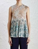 Zimmermann Tank Top 1 Adorn Lace Sheer Gray Blue Indienne Floral Blouse $530