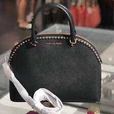 Michael Kors Womens Large Dome Emmy Leather Satchel Shoulder Handbag Black purse