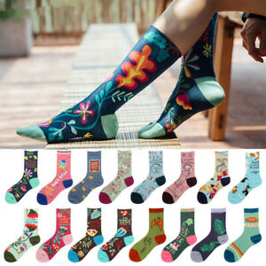 NEW Ladys Womens Cotton Crew Socks Warm Novelty Jacquard Flower Dress Socks 6-9