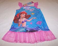 Disney Princess Ariel Girls Pink Blue Printed Mesh Trim Nightie Size 4 New