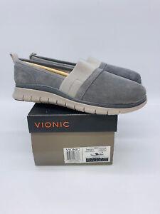 VIONIC Women's Fresh Kristi Comfort Slip-On Flats Charcoal Suede US 8.5W