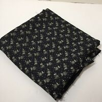 """2 Yards Black with White Flowers Crepe Fabric 60"""" wide Rayon"""