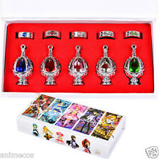 Puella Magi Madoka Magica Soul Gem Crystal Necklace Pendant Rings Cosplay 10pcs