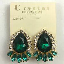 Fancy Rhinestone Crystal Statement Clip On Earrings Gold Tone YOU CHOOSE COLOR