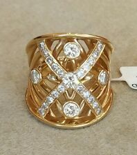 Wide Diamond X ring Ring with 1.40 ct in Diamonds-18k Yellow Gold-HM1567