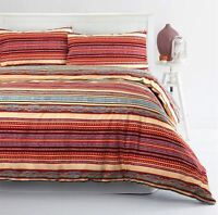 Ethnic Boho Moroccan Stripe 100% Cotton Duvet Cover Set Single Double Super King