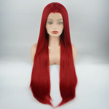 Meiyite Hair Straight Extra Long 28inch Red Realistic Synthetic Lace Front Wig