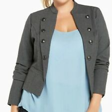 Torrid Gray Buttons Pockets Military Jacket Plus size 5/5X
