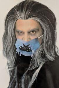 Wig Men's Carnival Halloween Long Wild Black Gray Streaks Vampire Dracula