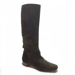 Sergio Rossi Tall Suede Riding Boots Brown Women's 7