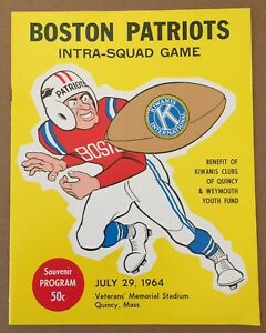 VINTAGE 1964 AFL NFL BOSTON PATRIOTS INTRA-SQUAD FOOTBALL PROGRAM @ QUINCY, MASS