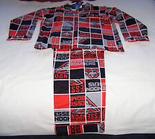 Essendon Bombers AFL Boys Red Black Squares Flannel Pyjama Set Size 14 New