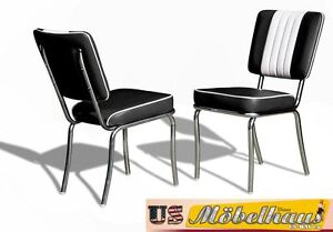 CO-24 Black Bel Air Furniture 2 Chairs Diner Kitchen IN Style Der 50er Years USA