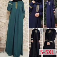 Women Vintage Kaftan Islamic Muslim Dress Maxi Arab Cocktail Jilbab Abaya Robe