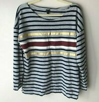 J. Crew Women's Top Size XL Long Sleeves Cotton Navy Blue Gray Maroon White Gold