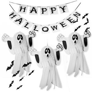 16 Pcs Spooky Ghost Bat Bunting Banner Mega Halloween Decoration Pack Bundle SET