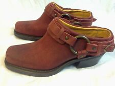 New FRYE Womens 6 Red Leather Motorcycle Belted Harness Biker Mules Clogs $258