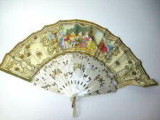 éventail vers 1820 FRANCE nacre argent peint à la main