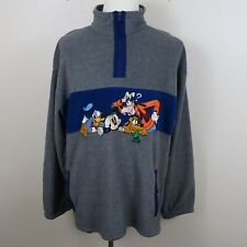 Disney Mens XL Gray Long Sleeve 1/2 Zip Sweater Goofy Mickey Mouse Donald Pluto