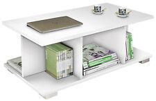 Mesa de centro fija blanco brillo con 5 huecos para salon comedor muy economica