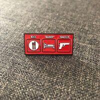 Eat sleep shoot Enamel Hat Pin Lapel