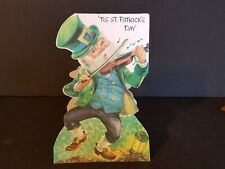 Vintage St. Patrick's Day Card Leprechaun Playing Fiddle