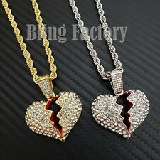 """Hip Hop Iced Broken Heart Charm Pendant & 4mm 24"""" Rope Chain Fashion Necklace"""