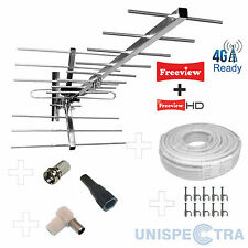 KIT3: 4G/LTE READY CLASSIC HIGH GAIN DIGITAL HD TV AERIAL+10m Cable + Connectors