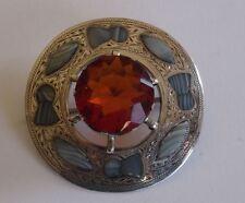 Superbe antique argent sterling et agate Écossais Plaid broche, C1909
